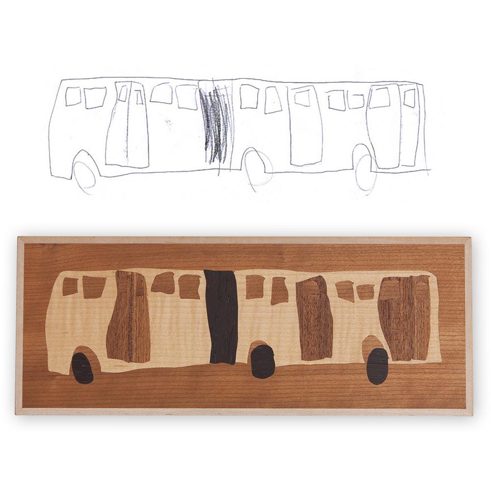 バスのイラストから作った象嵌作品