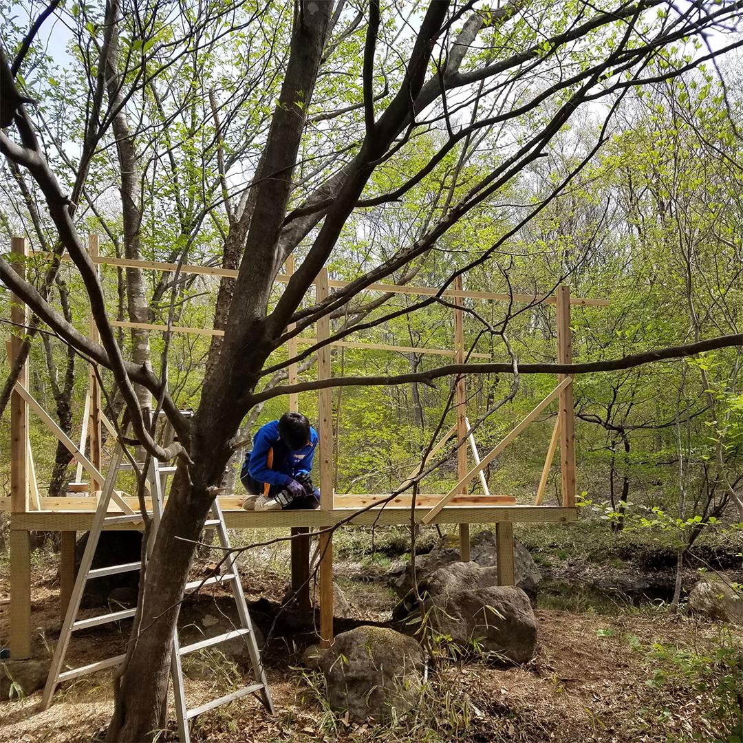 那須の森で小屋作り