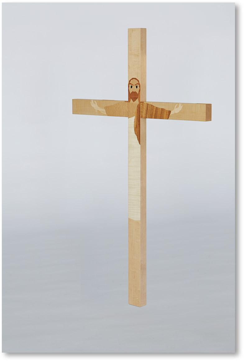 那須の藤城清治美術館にあるキリストの象嵌を施した十字架