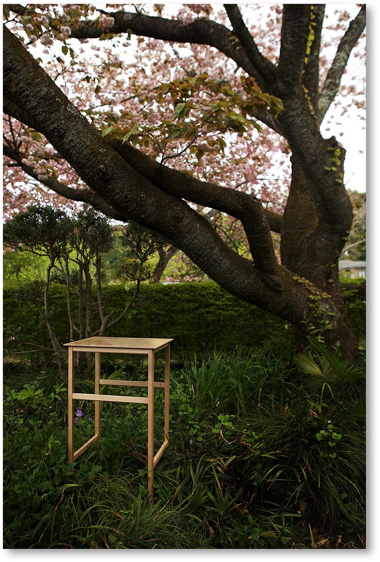 """""""細い脚、薄い天板が綺麗な木の展示台"""""""