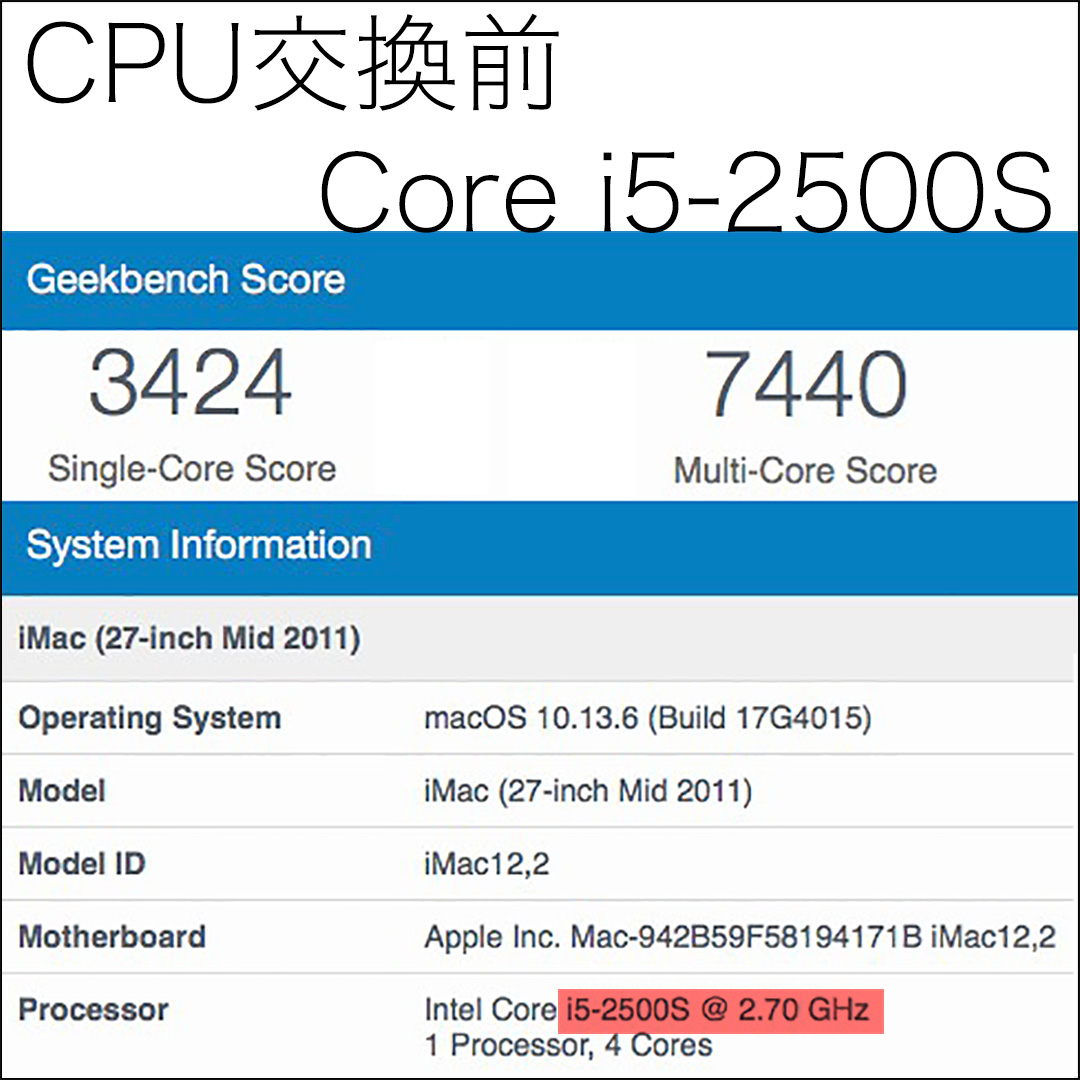Geekbench iMac 2011 Core i5-2500S