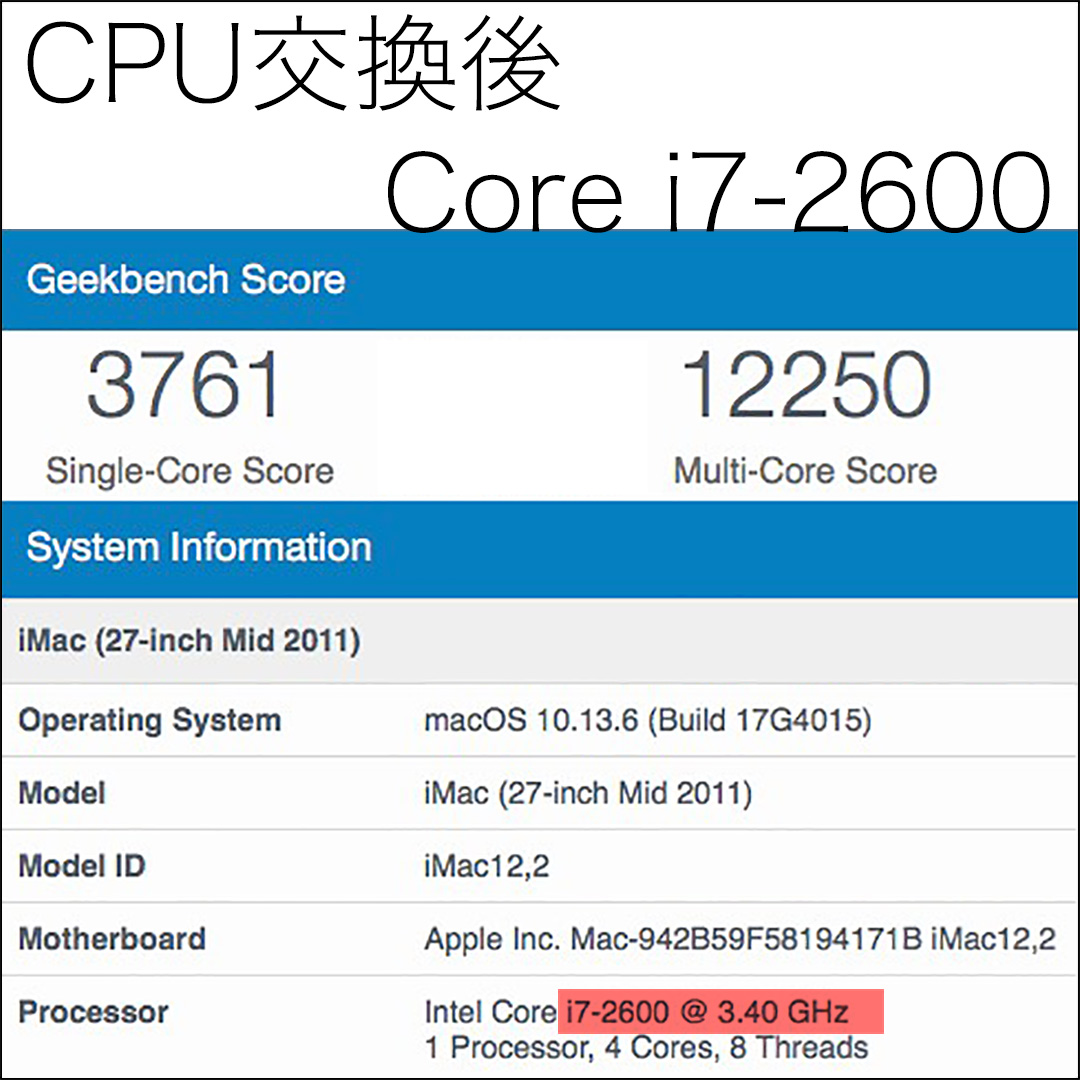 Geekbench iMac 2011 Core i7-2600