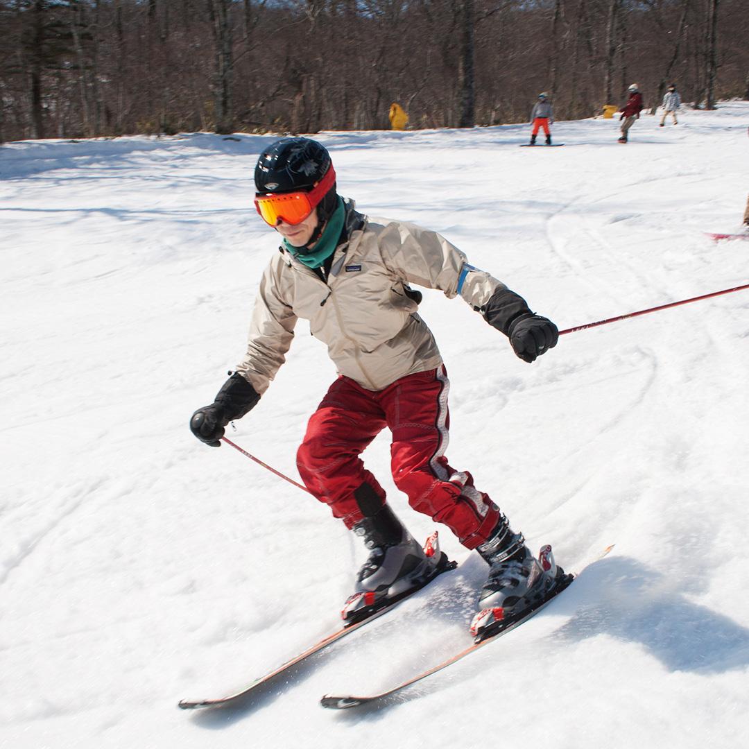 柔らかい雪で滑るのは疲れる