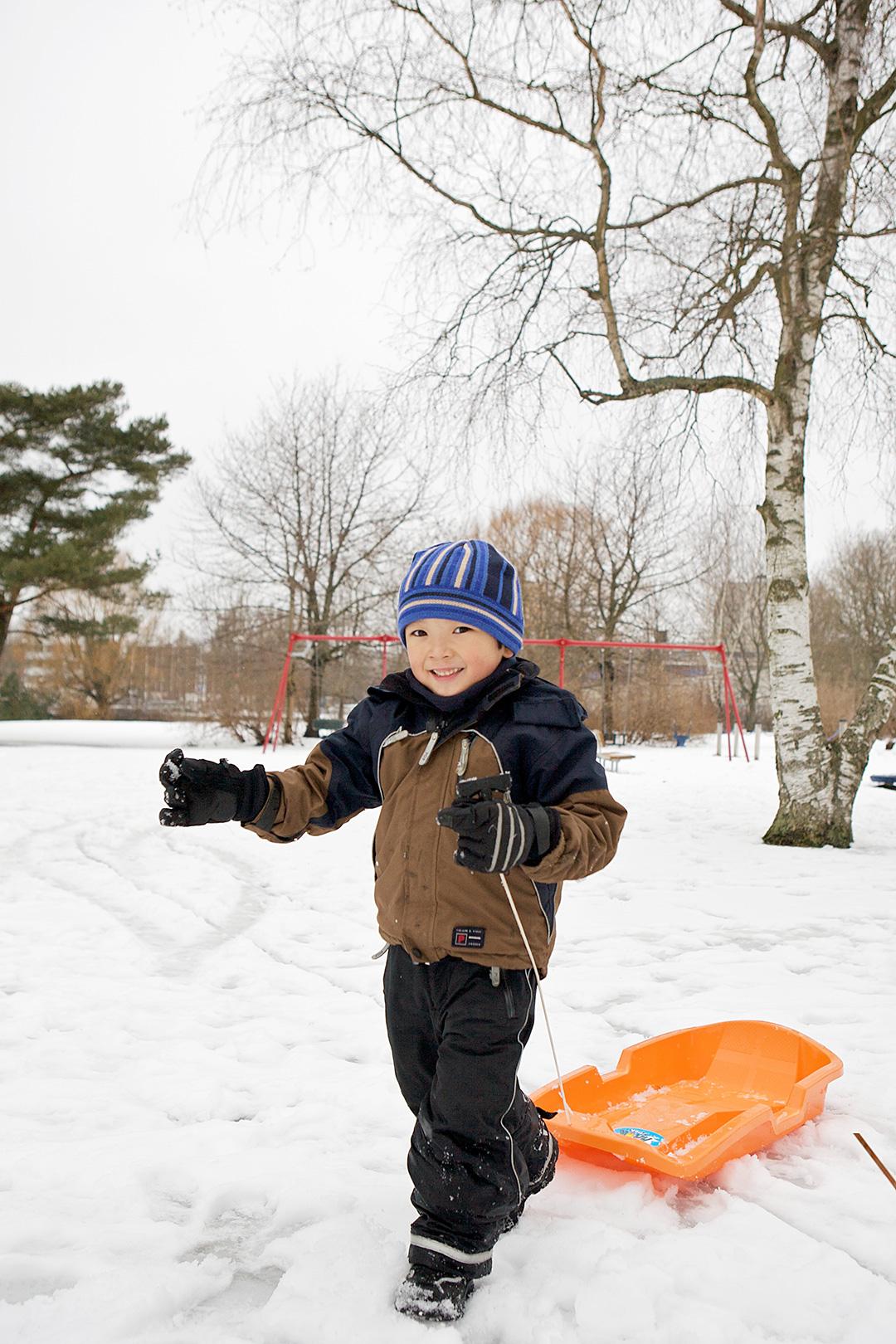雪の中、公園でそり遊び スウェーデン