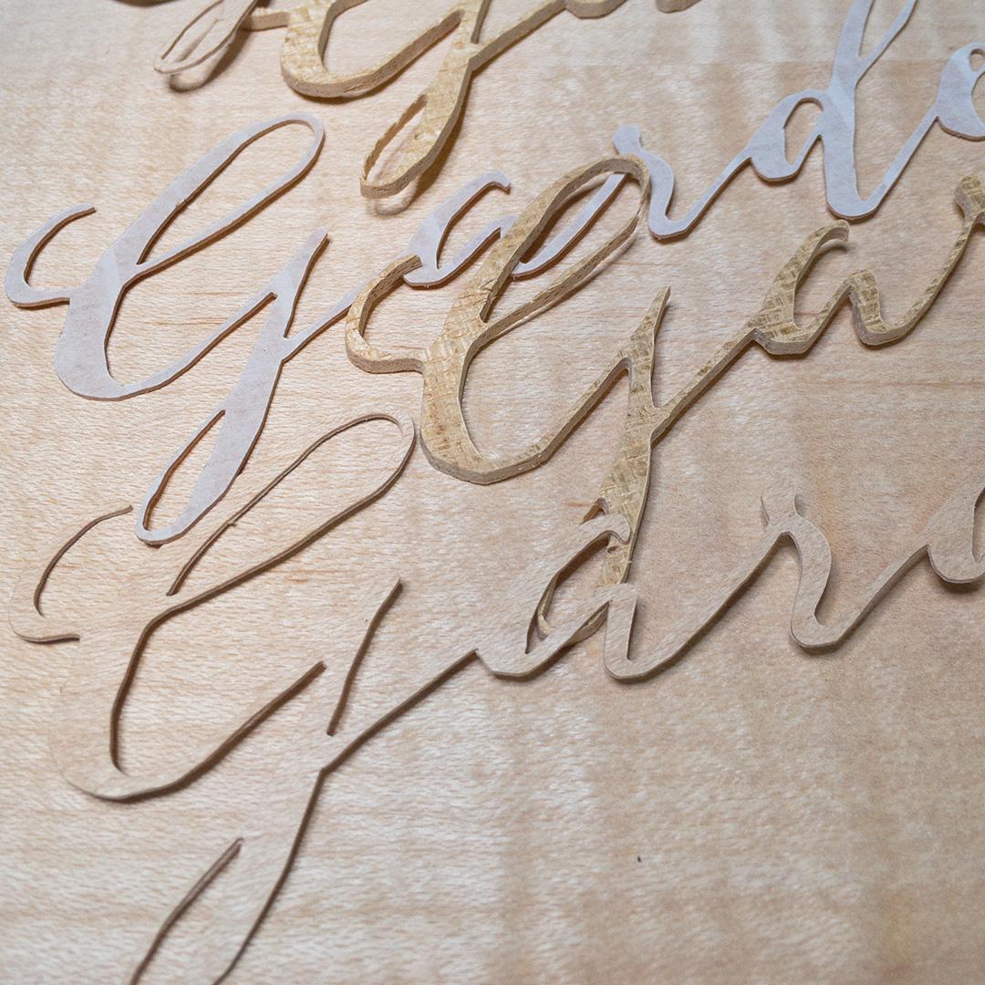 カリグラフィーを木象嵌