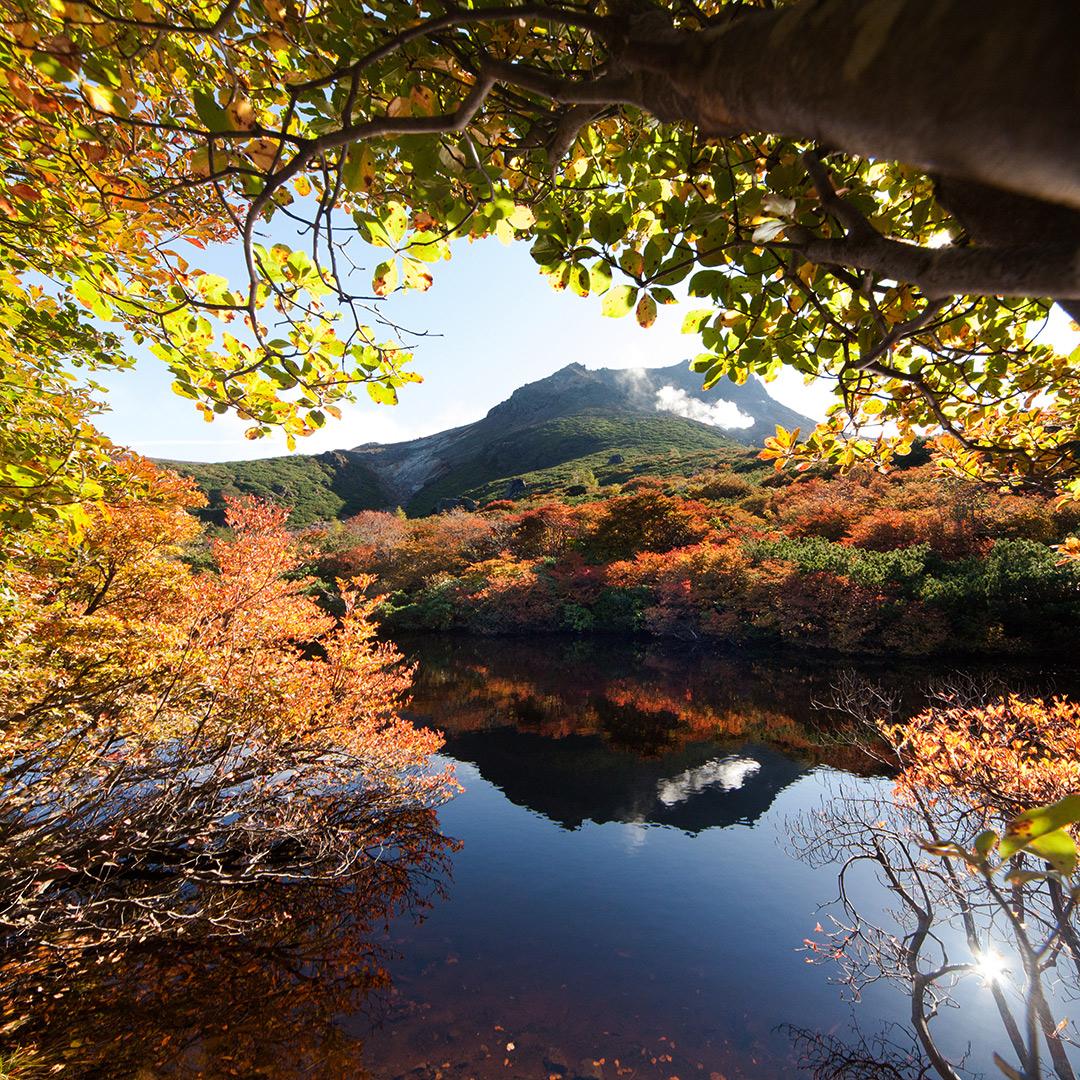 茶臼岳が水面に映るひょうたん池